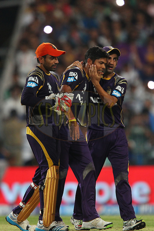 Gautam Gambhir captain of the Kolkata Knight Riders congratulates Umesh Yadav of the Kolkata Knight Riders after the win during the first qualifier match (QF1) of the Pepsi Indian Premier League Season 2014 between the Kings XI Punjab and the Kolkata Knight Riders held at the Eden Gardens Cricket Stadium, Kolkata, India on the 28th May  2014<br /> <br /> Photo by Ron Gaunt / IPL / SPORTZPICS<br /> <br /> <br /> <br /> Image use subject to terms and conditions which can be found here:  http://sportzpics.photoshelter.com/gallery/Pepsi-IPL-Image-terms-and-conditions/G00004VW1IVJ.gB0/C0000TScjhBM6ikg