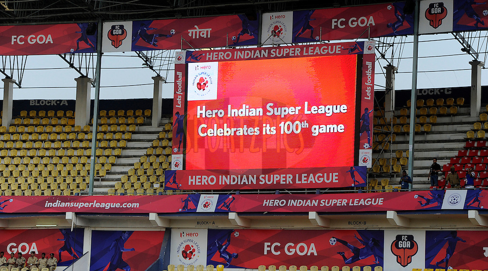 Giant screens and LED boards during match 36 of the Indian Super League (ISL) season 2  between Mumbai City FC vs FC Pune City held at the D.Y. Patil Stadium, Navi Mumbai, India on the 13th November 2015.<br /> <br /> Photo by Pal Pillai / ISL/ SPORTZPICS