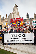 Members of the Trade Union Coordinating Group gathered for a Health and Safety lobby of Parliament on College Green opposite Parliament, London.