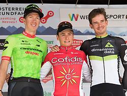 08.07.2017, Wels, AUT, Ö-Tour, Österreich Radrundfahrt 2017, 6. Etappe von St. Johann/Alpendorf nach Wels (203,9 km), Siegerehrung, im Bild v.l. Sep Vanmarcke (BEL, Cannondale-Drapac Pro Cycling Team), Clement Venturini (FRA, Cofidis, Solution Credits) Etappensieger, Ryan Gibbons (RSA, Dimension Data) // f.l. Sep Vanmarcke of Belgium (Cannondale Drapac Professional Cycling Team) Clement Venturini of France (Cofidis Solutions Credits) stage winner Ryan Gibbons of Republic of South Africa (Dimension Data) on Podium during winner ceremony for 6th stage from St. Johann/Alpendorf to Wels (203,9 km) of 2017 Tour of Austria Wels, Austria on 2017/07/08. EXPA Pictures © 2017, PhotoCredit: EXPA/ Reinhard Eisenbauer