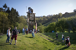 © Licensed to London News Pictures. 05/05/2018. Chalton, UK. Visitors to the Beltain Festival at Butser Ancient Farm look at the 30 foot high Wickerman figure. Over two thousand people have gathered to witness the ancient Beltain Celtic celebration of summer - which culminates in the burning of the giant Wickerman.  Photo credit: Peter Macdiarmid/LNP