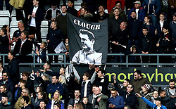 Derby County fans hold up a banner in honour of former manager Brian Clough - Mandatory by-line: Robbie Stephenson/JMP - 11/12/2016 - FOOTBALL - iPro Stadium - Derby, England - Derby County v Nottingham Forest - Sky Bet Championship