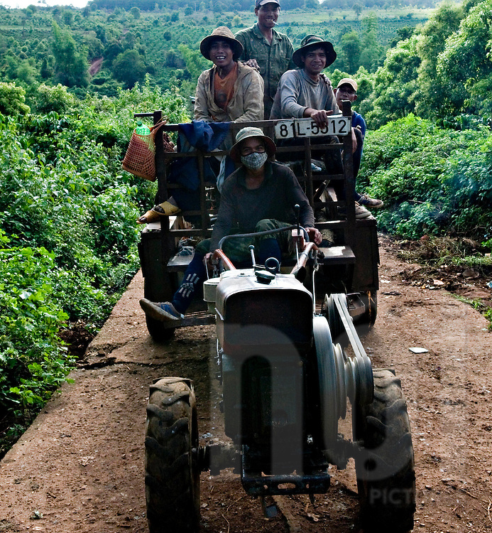 Vietnamese farmers on the way back home sit on a tractor trailer, Pleiku countryside area, Vietnam, Southeast Asia