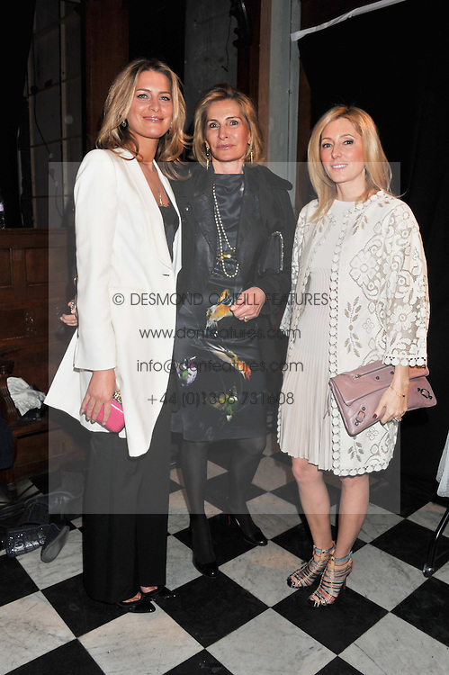Left to right, PRINCESS TATIANA OF GREECE, her mother MARIE BLANCHE BIERLEIN and HRH CROWN PRINCESS MARIE CHANTAL OF GREECEE at a fashion show featuring designs from Celia Kritharioti Spring/Summer 2012 collection held at One Mayfair, London on 20th March 2012.