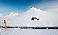This shack, found on an unknown road in Iceland was well and truely buried by snow.  Its sometimes hard to visualise just how deep that show is! <br /> Well the snow plough that recently cleared the road showed just how deep it was.