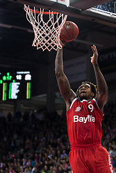 28.03.2016, Telekom Dome, Bonn, GER, Beko Basketball BL, Telekom Baskets Bonn vs FC Bayern Muenchen, 23. Runde, im Bild Deon Thompson (FC Bayen Muenchen #9) beim Korbleger // during the Beko Basketball Bundes league 23th round match between Telekom Baskets Bonn and FC Bayern Munich at the Telekom Dome in Bonn, Germany on 2016/03/28. EXPA Pictures © 2016, PhotoCredit: EXPA/ Eibner-Pressefoto/ Schüler<br /> <br /> *****ATTENTION - OUT of GER*****
