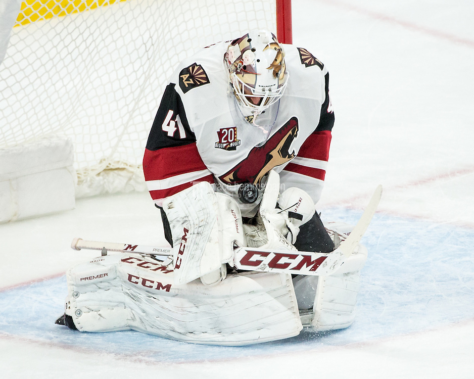 Dec 17, 2016; Saint Paul, MN, USA; Arizona Coyotes goalie Mike Smith (41) makes a save during the third period against the Minnesota Wild at Xcel Energy Center. The Wild defeated the Coyotes 4-1. Mandatory Credit: Brace Hemmelgarn-USA TODAY Sports
