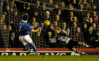 Fotball<br /> England 2004/2005<br /> Foto: SBI/Digitalsport<br /> NORWAY ONLY<br /> <br /> Birmingham City v Southampton<br /> Barclays Premiership. 02/02/2005.<br /> Birmingham's Robbie Blake (L) gives his team a 2-0 lead as he scores from the penalty spot to beat the despairing dive of Antti Niemi