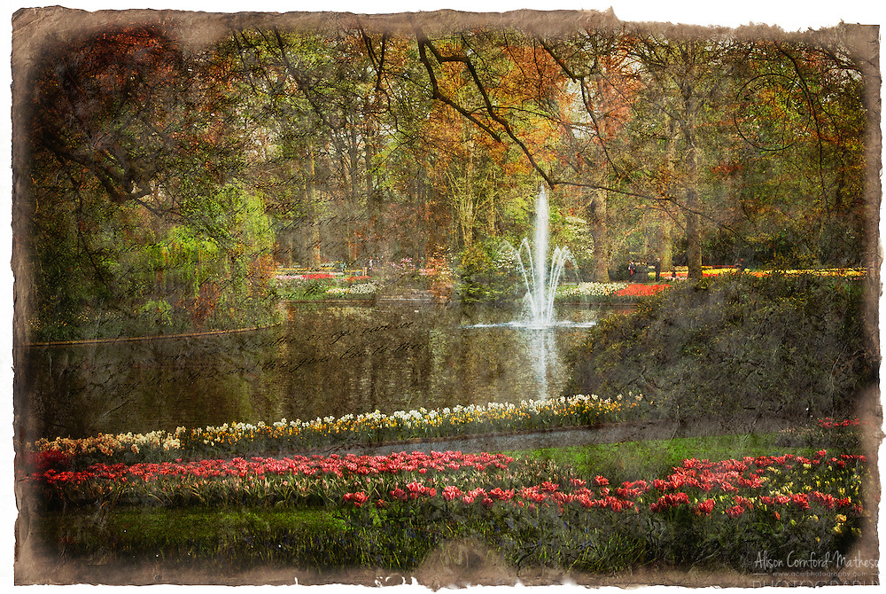 Keukenhof Gardens, Lisse, Netherlands - Forgotten Postcard digital art European Travel collage