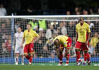 Photo: Lee Earle.<br /> Chelsea v Watford. The Barclays Premiership. 11/11/2006. Watford's Jordan Stewart (2ndR) looks dejected after Chelsea scored their second.