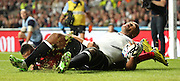 Fiji's Centre Nemani Nadolo scorin Fiji's first try to take the score 15 - 5 during the Rugby World Cup Pool A match between England and Fiji at Twickenham, Richmond, United Kingdom on 18 September 2015. Photo by Matthew Redman.