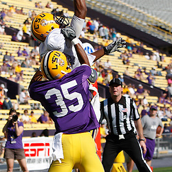 April 9, 2011; Baton Rouge, LA, USA; LSU Tigers wide receiver Rueben Randle (2) has a pass broken up by cornerback Ryan St. Julien (35)during the 2011 Spring Game at Tiger Stadium.   Mandatory Credit: Derick E. Hingle