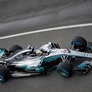 Lewis Hamilton takes the new Mercedes F1 W8 car for shakedown laps at Silverstone Circuit in the UK. The Mercedes Grand Prix team launch their 2017 F1 W8 Formula One car at a press event held in the Silverstone WIng.