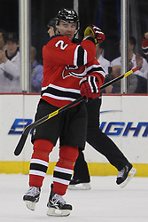 Mar 29; Newark, NJ, USA; New Jersey Devils defenseman Marek Zidlicky (2) celebrates his goal during the second period of their game against the Tampa Bay Lightning at the Prudential Center.