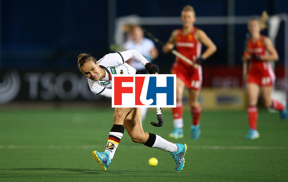 JOHANNESBURG, SOUTH AFRICA - JULY 14:  Jana Teschke of Germany passes the ball during day 4 of the FIH Hockey World League Women's Semi Finals Pool A match between Germany and England at Wits University on July 14, 2017 in Johannesburg, South Africa.  (Photo by Jan Kruger/Getty Images for FIH)