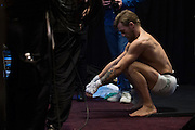 Conor McGregor warms up backstage before his fight against Chad Mendes during UFC 189 at the MGM Grand Garden Arena in Las Vegas, Nevada on July 11, 2015. (Cooper Neill)