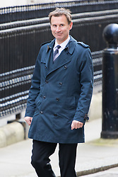 Downing Street, London, April 19th 2016. Health Secretary Jeremy Hunt arrives at Downing Street for the weekly cabinet meeting.