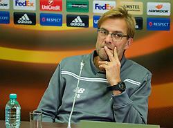 KAZAN, RUSSIA - Wednesday, November 4, 2015: Liverpool's manager Jürgen Klopp during a press conference at the Kazan Arena ahead of the UEFA Europa League Group Stage Group B match against FC Rubin Kazan. (Pic by Oleg Nikishin/Propaganda)
