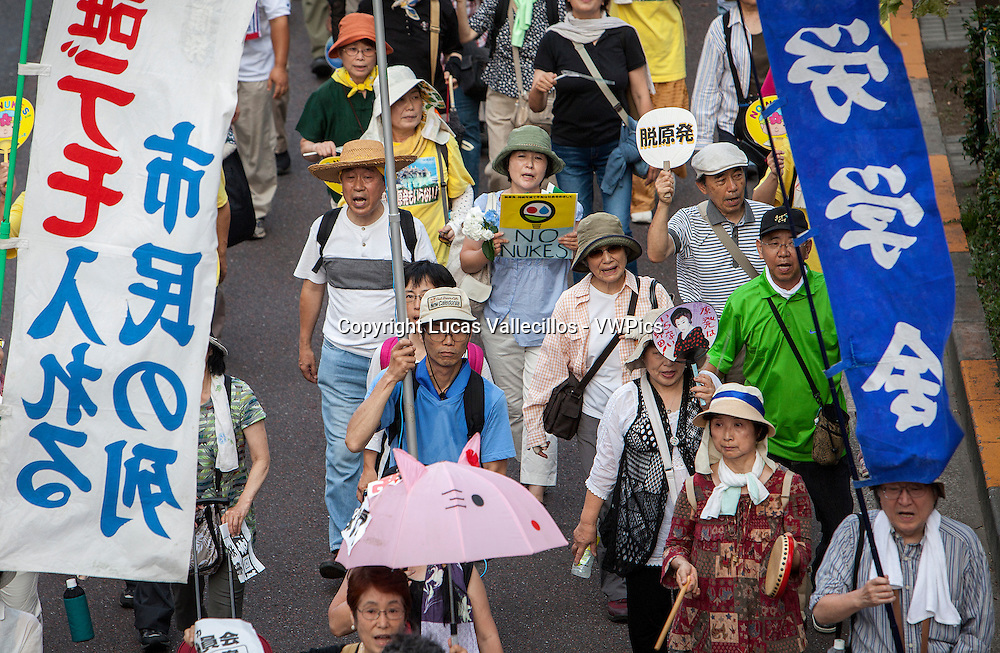 Anti-nuclear demonstration in the center of town<br /> near the headquarters of Japan&acute;s Government (Kokkai or Diet).Tokyo.Japan