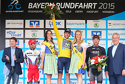 Radsport: 36. Bayern Rundfahrt 2015 / 5. Etappe, Hassfurt - Nuernberg, 17.05.2015<br /> Cycling: 36th Tour of Bavaria 2015 / Stage 5, <br /> Hassfurt - Nuernberg, 17.05.2015<br /> Siegerehrung - podium,<br /> # 45 Lagutin, Sergey (RUS, TEAM KATUSHA), # 32 Dowsett, Alex (GBR, MOVISTAR TEAM), Gelbes Trikot Gesamtfuehrender / Yellow Leader Jersey, # 112 Barta, Jan (CZE, Team BORA-ARGON 18)