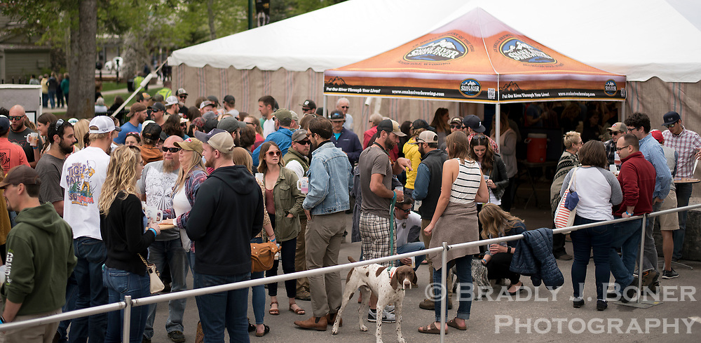 Beer connoisseurs fill the pavilion of the Old West Brewfest on Saturday at the Jackson Town Square. About two dozen brewers from around the region had their craft on-hand for sampling.