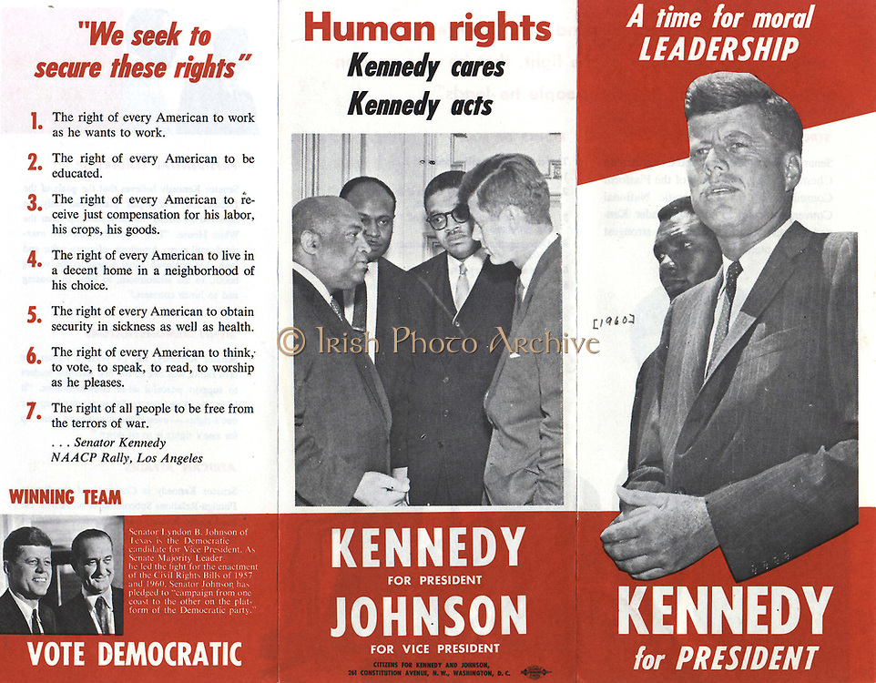 Leaflet showing US Presidential candidate, John F Kennedy, in talks with Civil Rights Leaders during the run up to the 1960 United States Presidential Election.