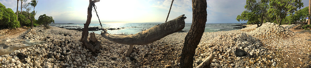 Panoramic photograph taken on Waikoloa Hawaii beach