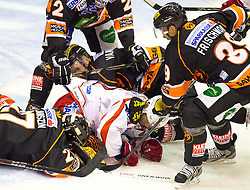 02.11.2012, Eisstadion Liebenau, Graz, AUT, EBEL, Graz 99ers vs EC KAC, 18. Runde, im Bild Cole Jarrett, (Graz 99ers, #2), Trevor Frischmon, (Graz 99ers, #39), Sebastian Stefaniszin, (Graz 99ers, #27) // during the Erste Bank Icehockey League 18th Round match betweeen Graz 99ers and EC KAC at the Icehockey Stadium Liebenau, Graz, Austria on 2012/11/02. EXPA Pictures © 2012, PhotoCredit: EXPA/ M. Kuhnke