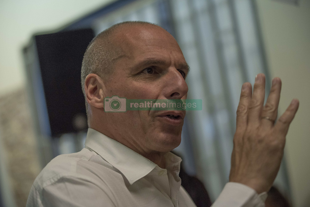 May 26, 2019 - Athens, Greece - YIANIS VAROUFAKIS, former Greek Minister of Finance, co-founder of the Democracy in Europe Movement 2025 (DiEM25), secretary of it's greek branch MERA25 and MEP candidate watches the election results after MERA25 won 3.1% on the European parliamentary elections. Greece heads for national elections as the governing party SYRIZA suffered a major defeat. (Credit Image: © Nikolas Georgiou/ZUMA Wire)