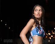Fashion model Elodi Tusac modeling a swimsuit during Houston Fashion Week, by fashion photographer Gerard Harrison.