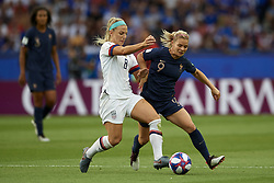 June 28, 2019 - Paris, France - Julie Ertz (Chicago Red Stars) of United States and Eugenie Le Sommer (Olympique Lyon) of France battle for the ball during the 2019 FIFA Women's World Cup France Quarter Final match between France and USA at Parc des Princes on June 28, 2019 in Paris, France. (Credit Image: © Jose Breton/NurPhoto via ZUMA Press)
