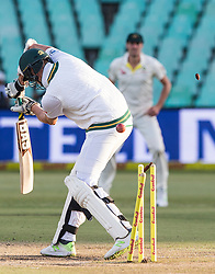 Durban. 020318.Mitchell Starc of Australia celebrates the wicket of Morne Morkel of the Proteas with his team mates during day 2 of the 1st Sunfoil Test match between South Africa and Australia at Sahara Stadium Kingsmead on March 02, 2018 in Durban, South Africa. Picture Leon Lestrade/African News Agency/ANA