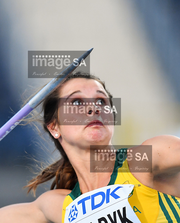 BYDGOSZCZ, POLAND - JULY 20: Jo-Ane van Dyk wins the silver medal in the women's javelin during the evening session on day 2 of the IAAF World Junior Championships at Zawisza Stadium on July 20, 2016 in Bydgoszcz, Poland. (Photo by Roger Sedres/Gallo Images)