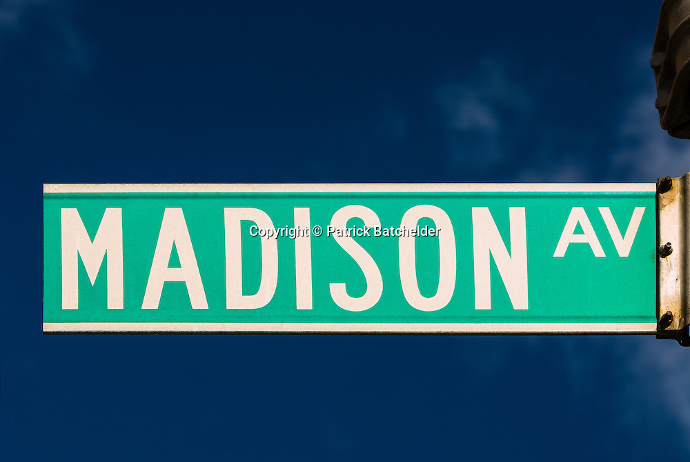 Madison Avenue street sign in New York City, Manhattan.