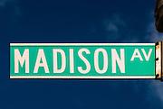 Madison Avenue street sign in New York City, Manhattan.