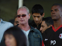 PAUL GASCOIGNE, GAZZA AND EX ARSENAL PLAYER PAUL DAVIES IN THE STANDS AT ROCKINGHAM ROAD KETTERING-STAFFORD FA CUP GAME 24th September 2005 24/9/05 Before Becoming Manager of Kettering Town