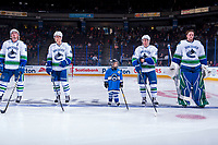 PENTICTON, CANADA - SEPTEMBER 8: The seventh player of the game lines up with the Vancouver Canucks on September 8, 2017 at the South Okanagan Event Centre in Penticton, British Columbia, Canada.  (Photo by Marissa Baecker/Shoot the Breeze)  *** Local Caption ***