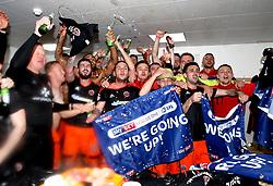 Free to use courtesy of Sky Bet - Sheffield United celebrate promotion to The Sky Bet Championship - Mandatory by-line: Robbie Stephenson/JMP - 08/04/2017 - FOOTBALL - Sixfields Stadium - Northampton, England - Northampton Town v Sheffield United - Sky Bet League One