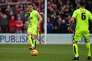 Huddersfield Town defender Mark Hudson passes the ball to Jonathan Hogg during the Sky Bet Championship match between Nottingham Forest and Huddersfield Town at the City Ground, Nottingham, England on 13 February 2016. Photo by Aaron  Lupton.