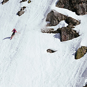 Lynsey Dyer skiing down into basecamp.