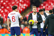 Harry Kane with the match ball at full time for scoring his hat trick during the UEFA European 2020 Qualifier match between England and Montenegro at Wembley Stadium, London, England on 14 November 2019.