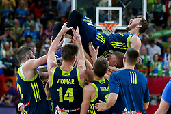 Goran Dragic of Slovenia and other players celebrate after winning during basketball match between National Teams of Slovenia and Spain at Day 15 in Semifinal of the FIBA EuroBasket 2017 at Sinan Erdem Dome in Istanbul, Turkey on September 14, 2017. Photo by Vid Ponikvar / Sportida
