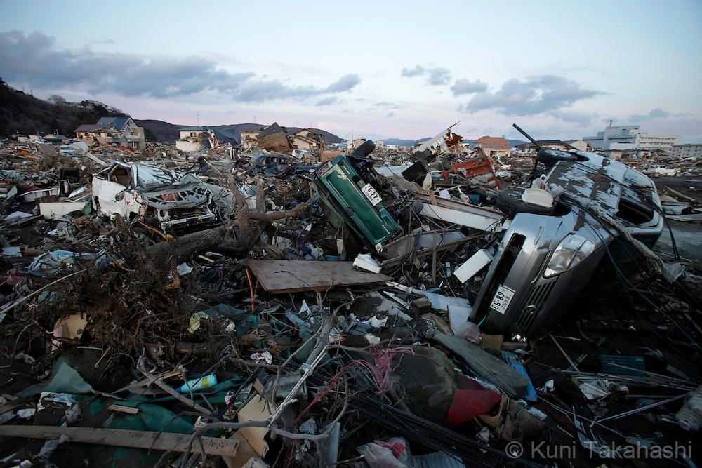 Debris in Kadonowaki-cyo in Ishinomaki, Miyagi, Japan after massive earthquake and tsunami hit northern Japan. More than 20,000 were killed by the disaster on March 11.<br /> Photo by Kuni Takahashi