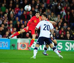 Wales Gareth Bale (Tottenham)  fires his shot just wide - Photo mandatory by-line: Joe Meredith/JMP  - Tel: Mobile:07966 386802 12/10/2012 - Wales v Scotland - SPORT - FOOTBALL - World Cup Qualifier -  Cardiff   - Cardiff City Stadium -
