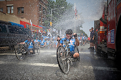 "July 21, 2011: Participants in a Wounded Warrior Project ""Soldier Ride"" travel from midtown Manhattan to Brooklyn, culminating in a ""block party"" in Bensonhurst..Photo by Rob Bennett for The Wall Street Journal.Slug: WarriorRide"