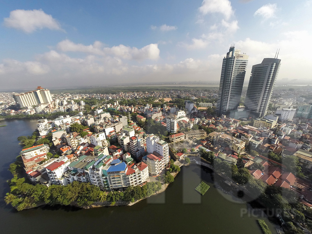 Aerial view of Truc Bach Lake in Hanoi, Vietnam, Southeast Asia