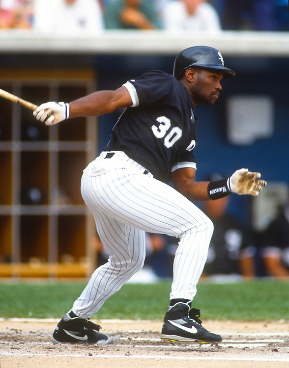 CHICAGO - UNDATED:  Tim Raines of the Chicago White Sox bats during an MLB game at Comiskey Park in Chicago, Illinois.  Raines played for the White Sox from 1991-1995. (Photo by Ron Vesely)  Subject:  Tim Raines