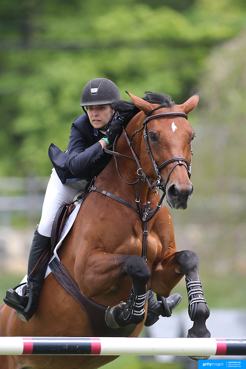 Wesley Newlands riding Evita Van De Veldbal in action during the $35,000 Grand Prix of North Salem presented by Karina Brez Jewelry during the Old Salem Farm Spring Horse Show, North Salem, New York, USA. 15th May 2015. Photo Tim Clayton