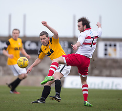 East Fife&rsquo;s player manager Gary Naysmith and Stirling Albion's Mark Lamont. <br /> Half time : East Fife 0 v 0 Stirling Albion, Scottish Football League Division Two game played at Bayview Stadium, 20/2/2106.