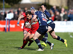 Jack Wallace fullback for Bristol Rugby is tackled by Henry Staff outside centre for Bedford Blues  - Mandatory by-line: Robbie Stephenson/JMP - 23/04/2016 - RUGBY - Goldrington Road - Bedford, England - Bedford Blues v Bristol Rugby - Greene King IPA Championship